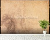 Study of an angel (charcoal on paper) (verso) wallpaper mural in-room view