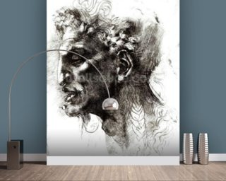 Head of a Satyr (pen & ink on paper) (b/w photo) wall mural