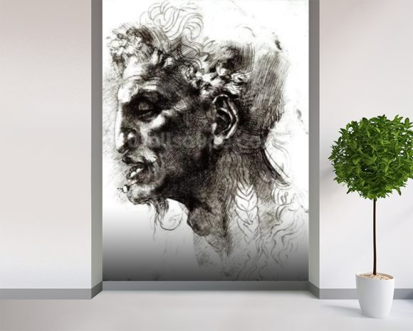 Head of a Satyr (pen & ink on paper) (b/w photo) wall mural room setting