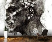 Head of a Satyr (pen & ink on paper) (b/w photo) wall mural kitchen preview