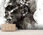 Head of a Satyr (pen & ink on paper) (b/w photo) wall mural living room preview