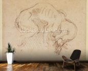 Study of a dog (charcoal on paper) (recto) wallpaper mural kitchen preview