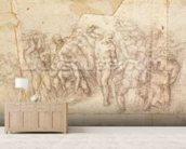 Study of figures for a narrative scene (charcoal on paper) (recto) mural wallpaper living room preview