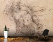 Study for Noah in The Drunkenness of Noah, 1508-12 (charcoal on paper) (recto) wallpaper mural kitchen preview