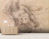 Study for Noah in The Drunkenness of Noah, 1508-12 (charcoal on paper) (recto) wallpaper mural living room preview