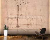 Design for the tomb of Pope Julius II (1453-1513) (brown ink on paper) (verso) mural wallpaper kitchen preview