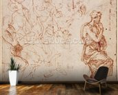 Figure Studies for a Woman (brown ink on paper) wallpaper mural kitchen preview