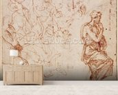 Figure Studies for a Woman (brown ink on paper) wallpaper mural living room preview