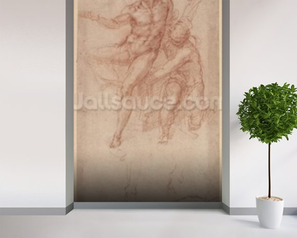 Figure Studies (red chalk on paper) wall mural room setting