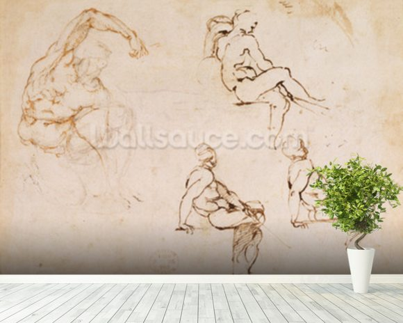 Figure Drawings (ink on paper) wall mural room setting