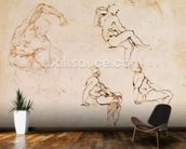 Figure Drawings (ink on paper) wall mural kitchen preview