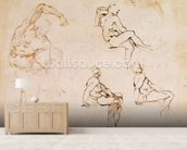 Figure Drawings (ink on paper) wall mural living room preview