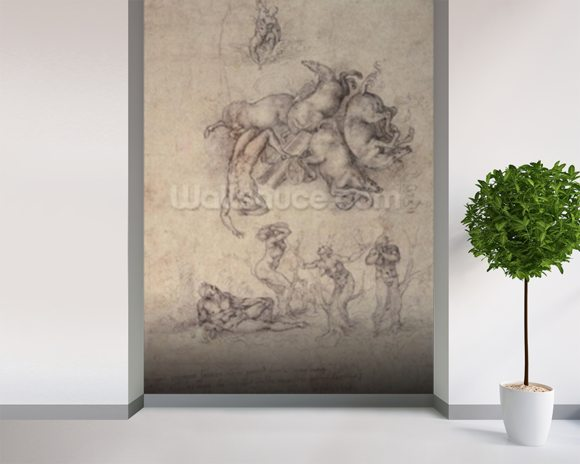 The Fall of Phaethon, 1533 (pencil on paper) mural wallpaper room setting