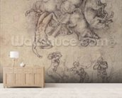 The Fall of Phaethon, 1533 (pencil on paper) mural wallpaper living room preview