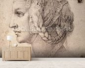 Study of Head (pencil on paper) wall mural living room preview