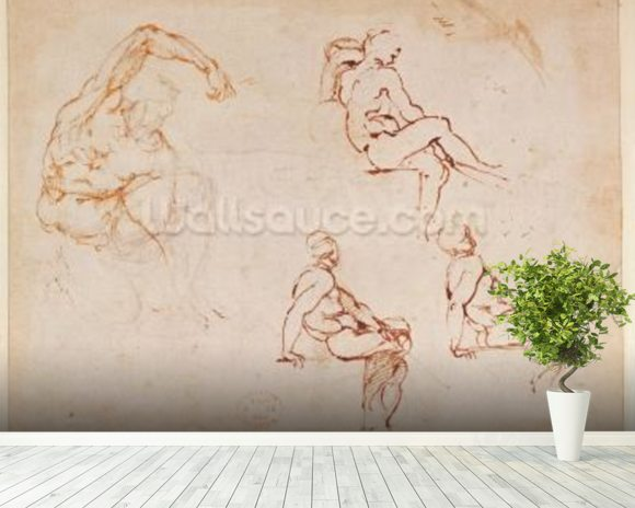 Figure Studies for a Man (brown ink) mural wallpaper room setting