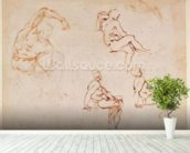 Figure Studies for a Man (brown ink) mural wallpaper in-room view