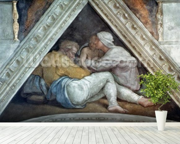 Sistine Chapel Ceiling: The Ancestors of Christ (pre restoration) wall mural room setting