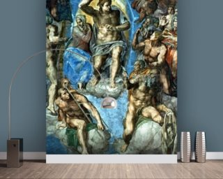 Christ, The Last Judgement,Sistine Chapel, 16th century with self-portrait of Michelangelo Wallpaper Wall Murals