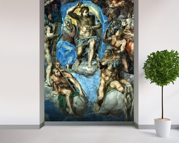 Christ, The Last Judgement,Sistine Chapel, 16th century with self-portrait of Michelangelo wallpaper mural room setting
