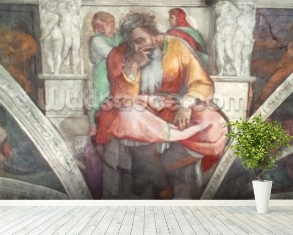 Sistine Chapel Ceiling: The Prophet Jeremiah (pre resoration) mural wallpaper room setting