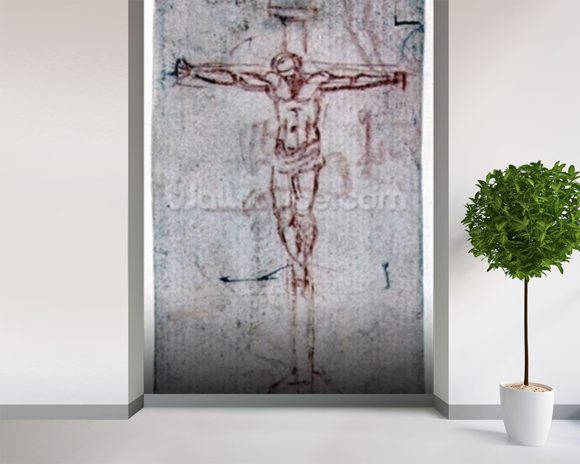 Christ on the Cross (red chalk on paper) mural wallpaper room setting
