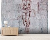 Christ on the Cross (red chalk on paper) mural wallpaper living room preview