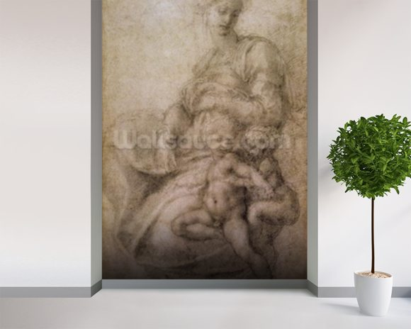 The Virgin and Child with the infant Baptist, c.1530 (black chalk on paper) wall mural room setting