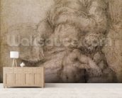 The Virgin and Child with the infant Baptist, c.1530 (black chalk on paper) wall mural living room preview