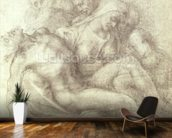 Figures Study for the Lamentation Over the Dead Christ, 1530 (black chalk on paper) wallpaper mural kitchen preview