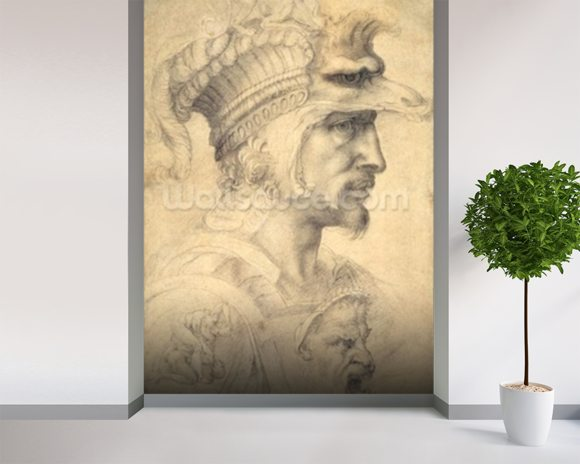 Ideal head of a warrior (black chalk on paper) mural wallpaper room setting