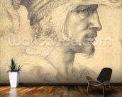 Ideal head of a warrior (black chalk on paper) mural wallpaper kitchen preview