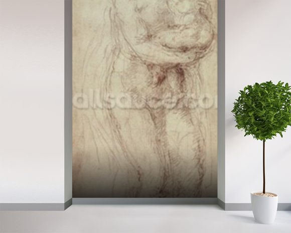 Madonna and Child (black chalk on paper) wall mural room setting