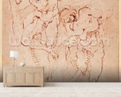 Studies of Male Nudes (ink on paper) wallpaper mural living room preview