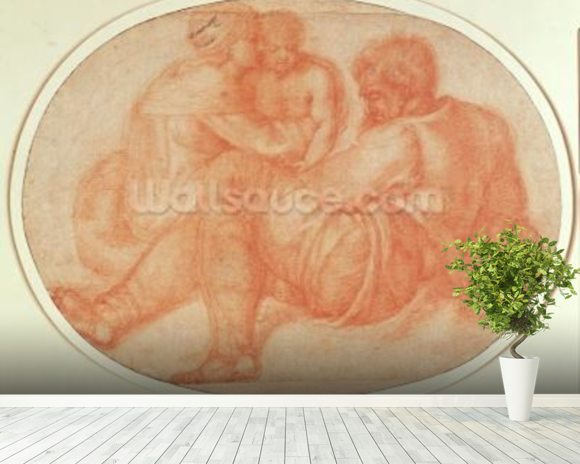 Study of the Holy Family (red chalk on paper) mural wallpaper room setting