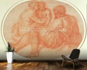 Study of the Holy Family (red chalk on paper) mural wallpaper kitchen preview