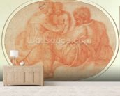 Study of the Holy Family (red chalk on paper) mural wallpaper living room preview