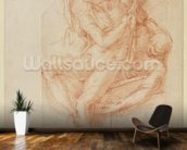 Study of Lazarus and two Attendant Figure (red chalk on paper) wallpaper mural kitchen preview