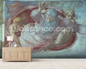 Sistine Chapel: God Dividing the Waters and Earth (pre restoration) (detail) mural wallpaper living room preview