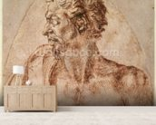 Study of Head and Shoulders (ink on paper) mural wallpaper living room preview