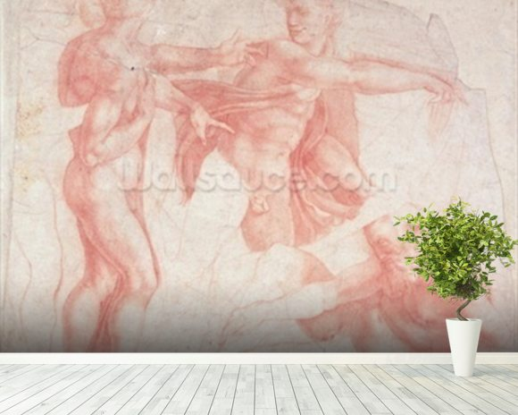 Studies of Male Nudes (red chalk on paper) mural wallpaper room setting