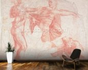 Studies of Male Nudes (red chalk on paper) mural wallpaper kitchen preview