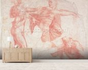 Studies of Male Nudes (red chalk on paper) mural wallpaper living room preview