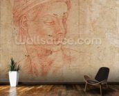 Study of a Head (red chalk on paper) wall mural kitchen preview