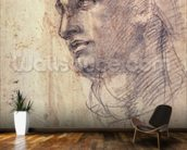 Study of a Head (charcoal on paper) mural wallpaper kitchen preview