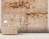 W.4v Page of sketches of babies or cherubs (ink on paper) mural wallpaper living room preview