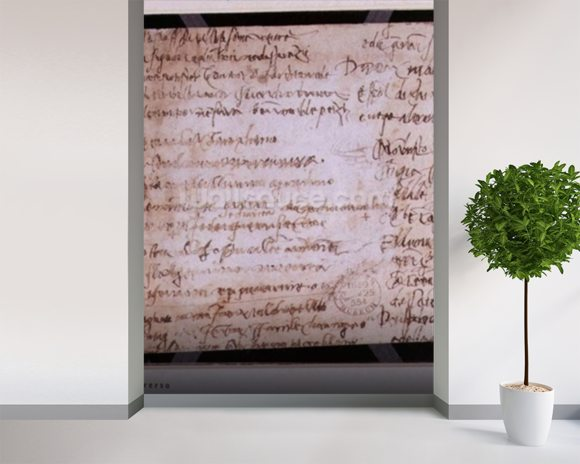 W.30v Fragment of a page of written notes (ink on paper) wall mural room setting