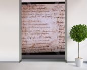 W.30v Fragment of a page of written notes (ink on paper) wall mural in-room view