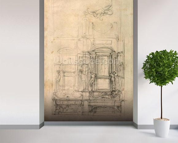 W.26r Design for the Medici Chapel in the church of San Lorenzo, Florence (charcoal) wall mural room setting