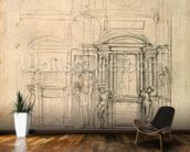 W.26r Design for the Medici Chapel in the church of San Lorenzo, Florence (charcoal) wall mural kitchen preview
